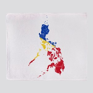 Philippines Flag And Map Throw Blanket
