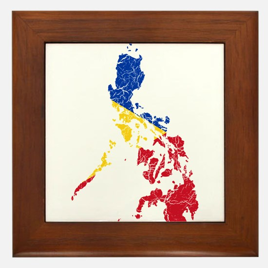 Philippines Flag And Map Framed Tile