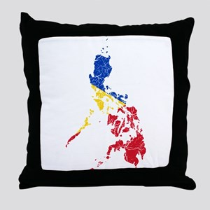 Philippines Flag And Map Throw Pillow