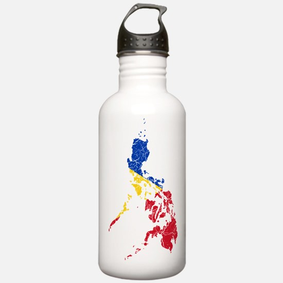 Philippines Flag And Map Water Bottle