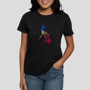 Philippines Flag And Map Women's Dark T-Shirt
