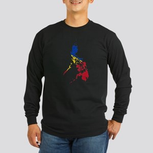 Philippines Flag And Map Long Sleeve Dark T-Shirt