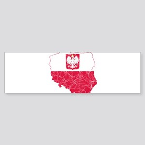 Poland State Ensign Flag And Map Sticker (Bumper)