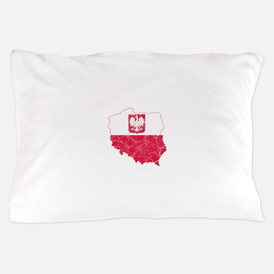 Poland State Ensign Flag And Map Pillow Case