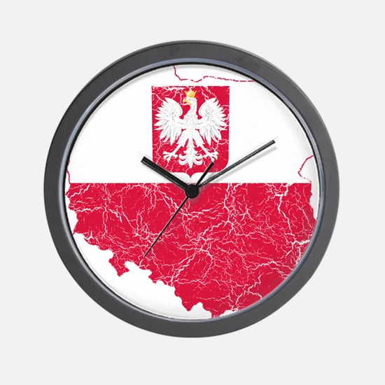 Poland State Ensign Flag And Map Wall Clock