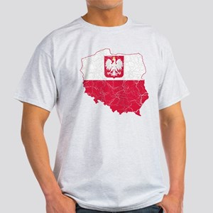 Poland State Ensign Flag And Map Light T-Shirt