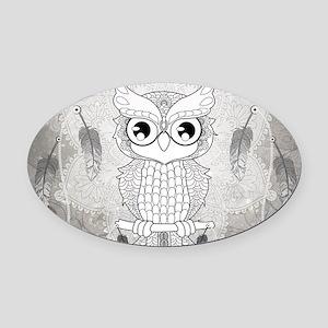 Cuet owl in black and white, mandala design Oval C