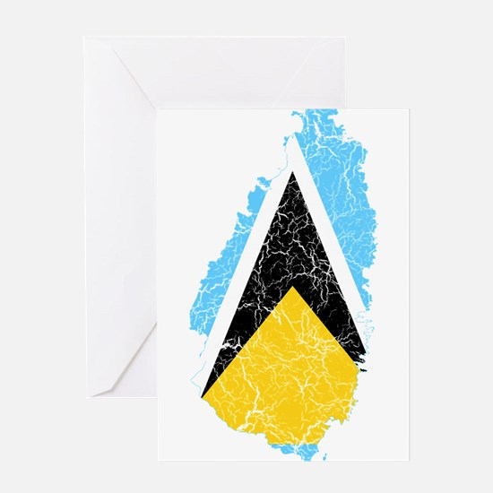 Saint Lucia Flag And Map Greeting Card