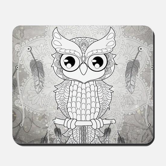Cuet owl in black and white, mandala design Mousep