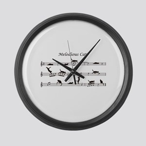 Melodious Cats Large Wall Clock