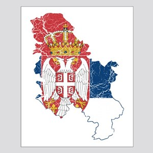 Serbia Flag And Map Small Poster