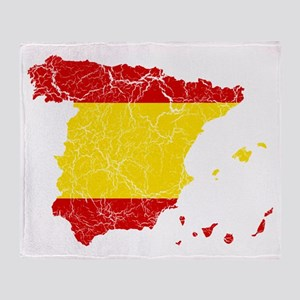 Spain Flag And Map Throw Blanket