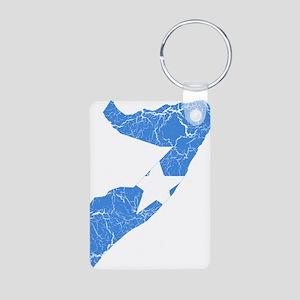 Somalia Flag And Map Aluminum Photo Keychain