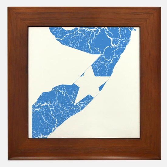 Somalia Flag And Map Framed Tile