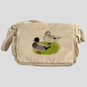 Snowy Call Ducks Messenger Bag