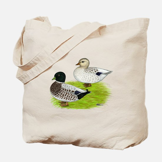 Snowy Call Ducks Tote Bag