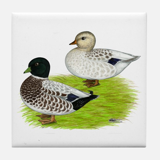 Snowy Call Ducks Tile Coaster