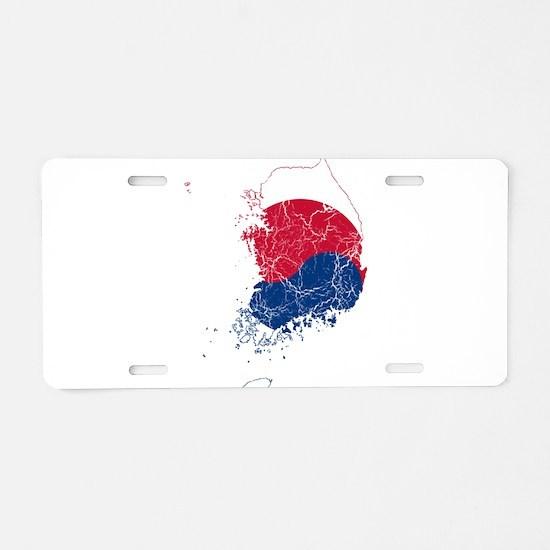 South Korea Flag And Map Aluminum License Plate
