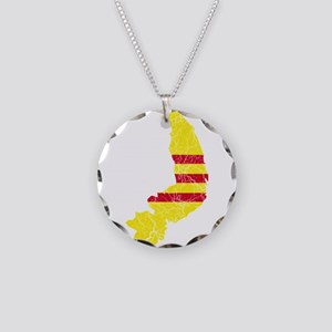 South Vietnam Flag And Map Necklace Circle Charm