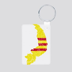 South Vietnam Flag And Map Aluminum Photo Keychain