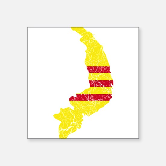 """South Vietnam Flag And Map Square Sticker 3"""" x 3"""""""