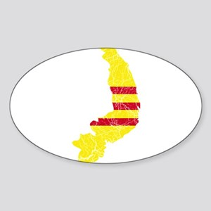South Vietnam Flag And Map Sticker (Oval)