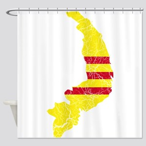 South Vietnam Flag And Map Shower Curtain