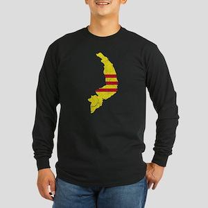 South Vietnam Flag And Map Long Sleeve Dark T-Shir
