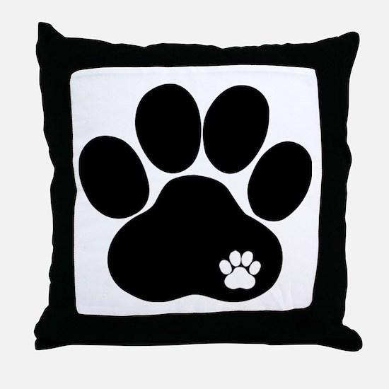 Double Paw Print Throw Pillow