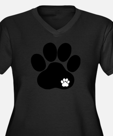 Double Paw Print Women's Plus Size V-Neck Dark T-S