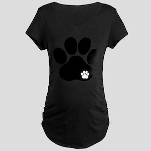 Double Paw Print Maternity Dark T-Shirt