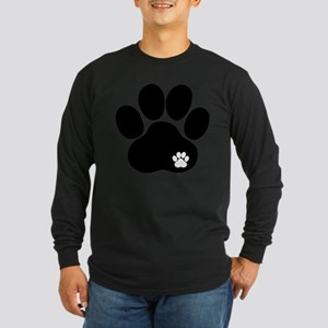 Double Paw Print Long Sleeve Dark T-Shirt