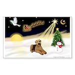 Night Flight/Airedale #5 Sticker (Rectangle)