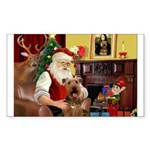 Santas Airedale Sticker (Rectangle)