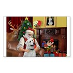 Santa & Anatolian Sticker (Rectangle)
