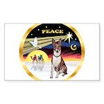 XmasDove/Basenji #2 Sticker (Rectangle 50 pk)