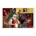 Santa's Basenji (#2) Sticker (Rectangle)