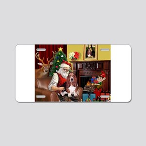 Santa's Basset Hound Aluminum License Plate