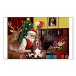 Santa's Basset Hound Sticker (Rectangle)