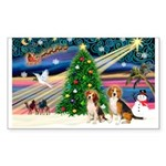 XmasMagic/2 Beagle Sticker (Rectangle 50 pk)
