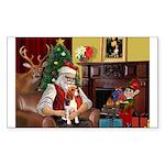 Santa's Beagle Sticker (Rectangle)