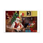 Santa's Beagle Rectangle Car Magnet