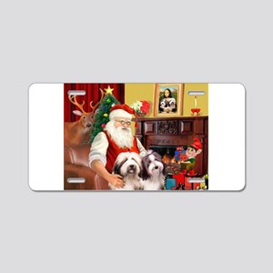 Santa's Beardie pair Aluminum License Plate