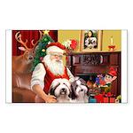 Santa's Beardie pair Sticker (Rectangle 50 pk)