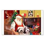 Santa's Beardie pair Sticker (Rectangle)