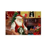 Santa's Bearded Collie Rectangle Magnet (10 pack)
