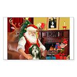 Santa's Bearded Collie Sticker (Rectangle)