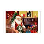 Santa's Bearded Collie Rectangle Car Magnet