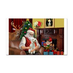 Santa's Bedlington Rectangle Car Magnet