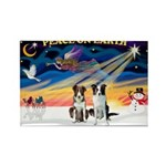 XmasSunrise/2 Border Collies Rectangle Magnet